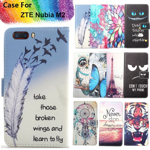 Fashion 11 Colors Cartoon Painting PU Leather Magnetic clasp Wallet Cover For ZTE Nubia M2 Case
