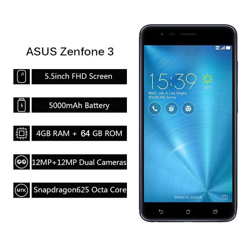 Global ASUS ZenFone 3 Zoom ZE553KL 4G LTE Smartphone 5.5'' FHD Octa Core 4GB RAM 64GB ROM Intelligence Dual 12MP Camera 5000mAh