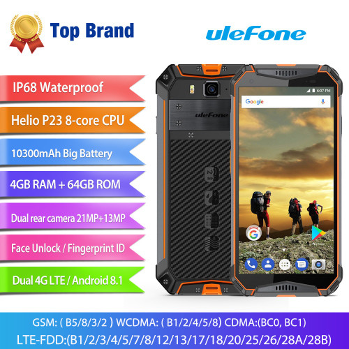 "Ulefone Armor 3 IP68 Waterproof Mobile Phone Android8.1 5.7"" FHD+ Octa Core 4GB+64GB NFC 21MP 10300mAh Global Version Smartphone"