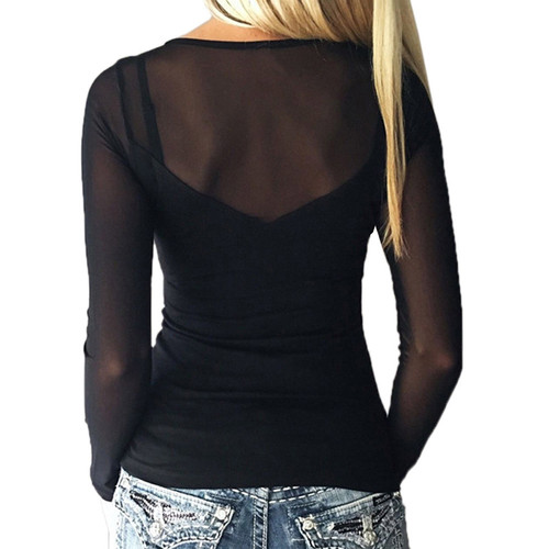 2018 Women Sexy Splice Long Sleeve Tops Mesh Blouse Casual Mesh Top Blouses Solid Slim View Through Ladies Shirt Pullover