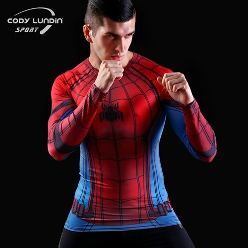 2016New Fitness Compression Tops & T-shirts Men Superman Captain America Batman Spiderman Iron Man tshirt Gentle Clothing