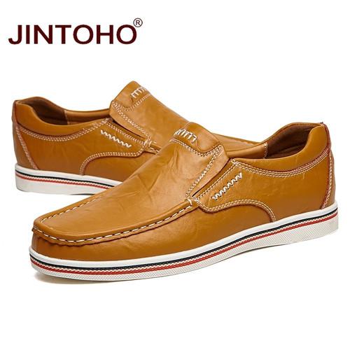 JINTOHO 2016 Fashion Men Flats Slip On Genuine Leather Men Shoes Luxury Brand Designer Men Shoe Italian Loafers Casual Flats