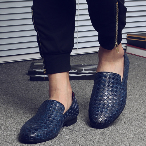 QFFAZ New Men Shoes Luxury Brand Braid Leather Casual Driving Oxfords Shoes Men Loafers Moccasins Italian Shoes for Men Flats