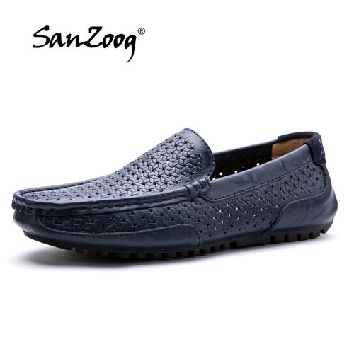 New Brand Genuine Leather Shoes Men Casual Luxury 2018 Summer Men's Loafers Moccasins Comfortable Breathable Slip On Boat Shoes
