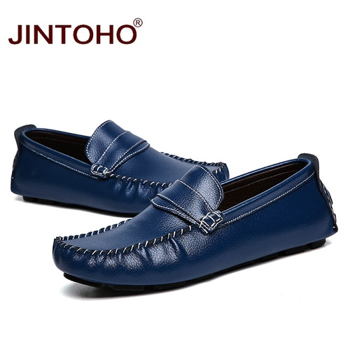 JINTOHO Big Size Men Flats Shoes Fashion Casual Men Loafers Luxury Brand Men Shoes Genuine Leather Loafers Slip On Male Shoes