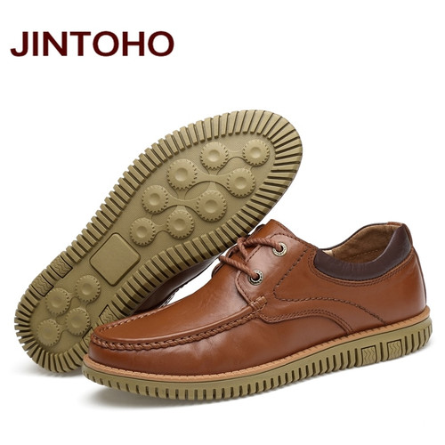 JINTOHO Big Size Men Casual Leather Shoes High Quality Genuine Leather Shoes Designer Men Loafers Luxury Brand Men Flats Shoes
