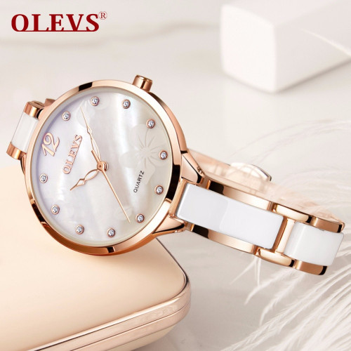 OLEVS brand luxury women watches relogio feminino Wrist watch women Rhinestone ceramic stainless steel bracelet ladies watch NEW