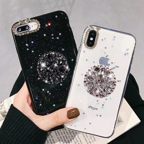 For iPhone 7 8 Case Luxury Glitter Diamond Cover For iPhone X XS Max XR 6 7 8 Plus Rhinestone 3D Grip Stand Holder Phone Cases