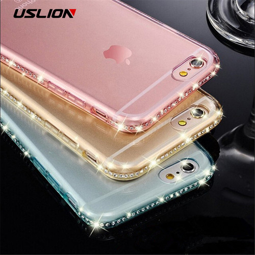 USLION Diamond Bling Transparent Phone Case Cover for iPhone 6 6S 8 7 Plus Soft TPU Clear Cover For iPhone X XR XS Max 5 5s SE