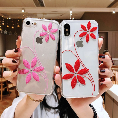 NOWAL Fashion Bling Glitter Diamond Flower Lovely Case For iPhone X XR 6 6S Plus Soft Silicon Cover For iPhone XS Max 7 8 Plus