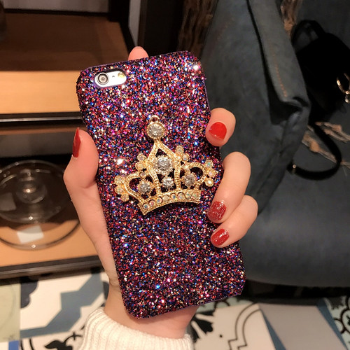 Dower Me Fashion Bling Sparkling Glitter Diamond Crown Hard Back Phone Case Cover For iPhone XS Max XR X 8 7 6 6S Plus Purple