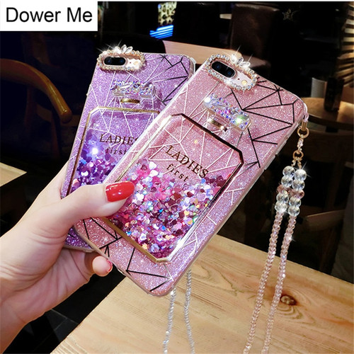 Dower Me Bling Glitter Liquid Quicksand Diamond Perfume Bottle Triangle Geometric Case Cover For iPhone X 8 7 6 6S Plus 5 5S SE
