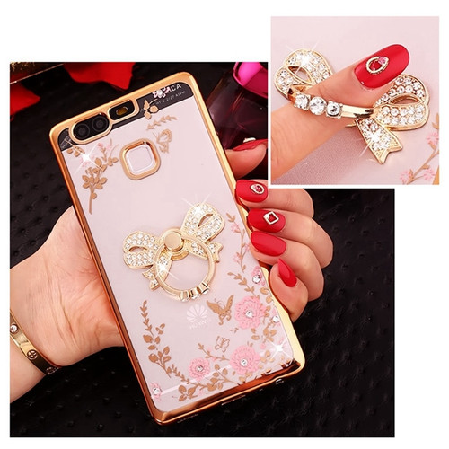 Luxury Diamond Ring Flowers Silicone TPU Case For Huawei P8 P9 P10 P20 Lite Plus 2017 Honor 9 6A P Smart Mate 10 Pro Back Cover