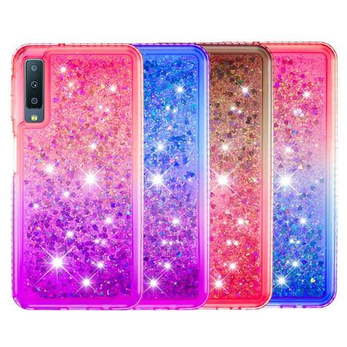 For Samsung Galaxy A7 A9 A6 Plus 2018 Diamond Edge Bling Glitter Heart Quicksand TPU Cover For Galaxy J8 2018 A9 Star Pro A9S