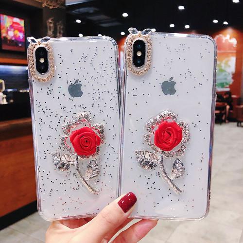 Luxury Bling Glitter Transparent Soft TPU Capa Cover Case for iPhone 7 8 Plus 6 6s Plus X XS Max XR Diamond Rose Coque Fundas