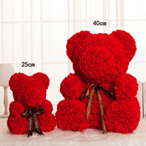 Artificial Flowers Rose Bear Multicolor Plastic Foam Rose Teddy Bear Girlfriend Valentines Day Gift Birthday Party Decoration