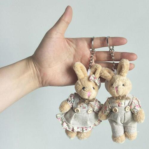 2PCS/LOT Kawaii Teddy Bear&Rabbit Couple Plush Toy Stuffed Animal Soft Doll Bears Stuffed Plush Pendant Wedding Gifts GMR020
