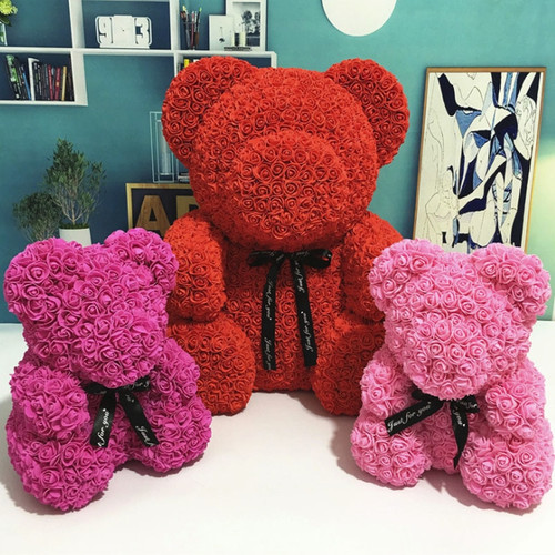 Lovely Toy Rose Bear Multicolor Plastic Foam Kawaii Rose Teddy Bear Valentine Day Gift Birthday Party Decoration Toys for Girls