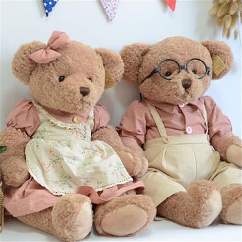 Lovely Teddy Bear Plush Toys 45cm 1 Pair Cute Couple Bears Plush Toys Peluche Dolls Gift Korea Fashion High Quality