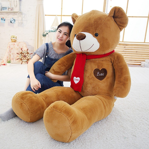 Soft Big Teddy Bear Stuffed Animal Plush Toy With Scarf 80cm100cm Kawaii Large Bears For Kids Giant Pillow Dolls Girlfriend Gift