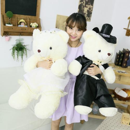 2pcs/pair 20cm 40cm 60cm 2018 Fashion Wedding Bear Couples Clothes Plush Toys Teddy Bear Doll Gift Bear Bride & Groom