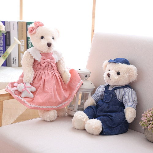 1Pair 40CM Pastoral Floral Cowboy Couple Teddy Bear Plush Filling Toys, Couple Teddy Bear Doll, Valentine's Day Wedding Gifts