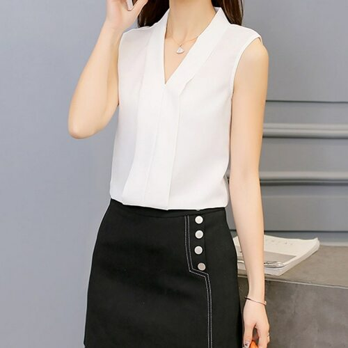 New Fashion Women Chiffon Blouses Ladies Tops Female Sleeveless Shirt Blusas Femininas White,Black,Red,Pink Plus Size
