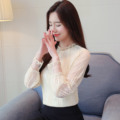 fashion women blouses 2018 autumn lace chiffon tops long sleeved women's blouse female clothes plus size ladies shirts 1189 40