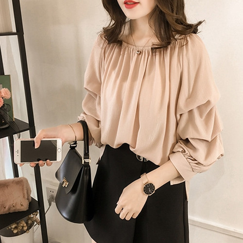 new women tops and blouse 2018 fashion chiffon blouse long sleeve solid color female tops shirt plus size women blusa 1012 40