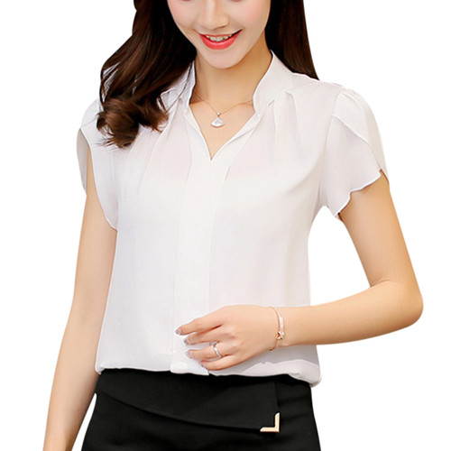 Summer Chiffon Blouse 2018 Office Lady Plus Size 3xl White Shirt Female Short Sleeve Shirt Fashion Bodycon Leisure Tops