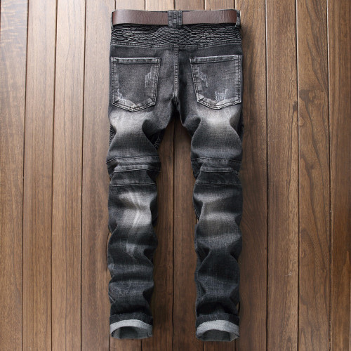 Black jeans men hole Casual ripped jeans slim fit rap hip hop pants Straight jeans classic pleated denim trousers Biker Jeans