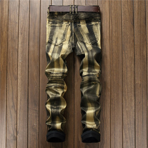 Newsosoo Men's Retro Ripped Biker Jeans Pants Gold Silver Jeans Denim Trousers Slim Fit Straight Washed Long Motorcycle Pants
