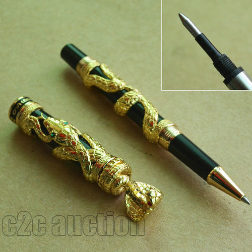 JINHAO BLACK WITH GOLDEN SNAKE WIND ROLLER BALL PEN SNAKE YEAR COMEMMORATE