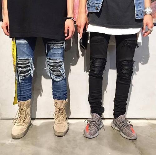 New Black Ripped Jeans Men 2017 Autumn Hi Street Folds Hole Locomotive Jeans Homme Casual Slim Fit Hip Hop Mens Biker Jeans