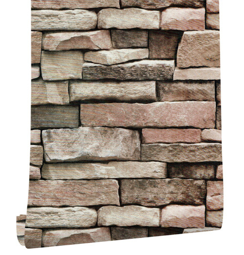 HaokHome Brick 3d Vinyl Self Adhesive Wallpaper for walls 3d Stone Textured Contact Paper For Living room Bedroom Home Decor