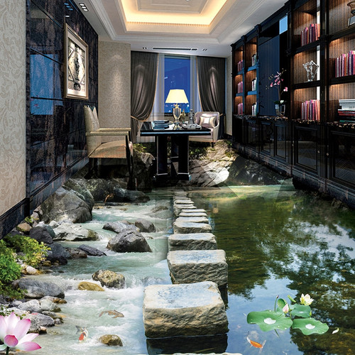 Custom 3D Photo Wallpaper Small Creek Stone Pier Bridge 3D Floor Murals PVC Waterproof Self-adhesive Mural Wallpaper Home Decor