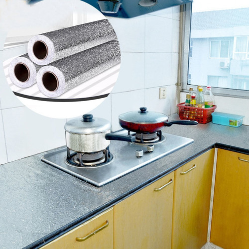 Kitchen Wall Stove Aluminum Foil Oil-proof Stickers Anti-fouling High-temperature Self-adhesive Croppable Wallpaper Wall Sticker