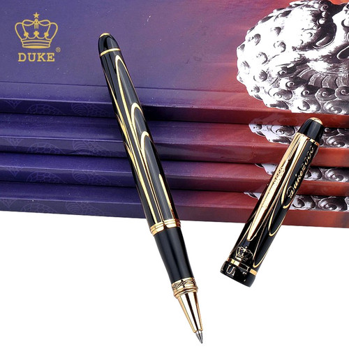 Black Gold Clip Rollerball Pen Duke Black Ink Medium Refill Good Writing Ballpoint Pen Luxury Business Gift Pens with A Pen Box