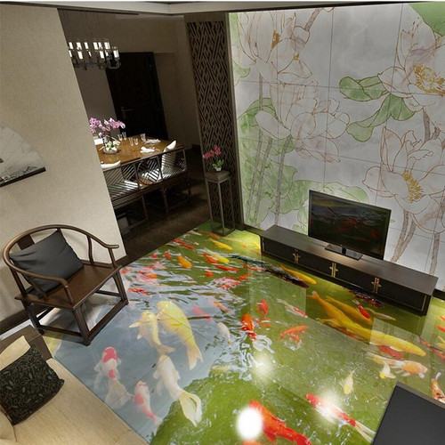 Custom 3D Floor Wallpaper 3D Super Real Chinese Wind Floor Painting Water PVC Self-adhesive Wall Sticker Wallpaper Waterproof