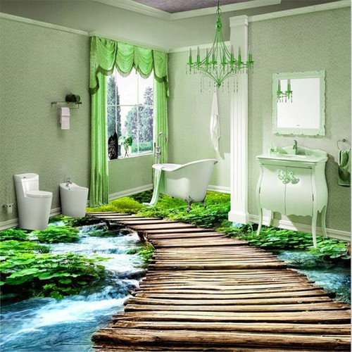 beibehang Toilets Custom 3D floor painting mural bathroom wear non-slip waterproof thickened self-adhesive PVC Wall pape