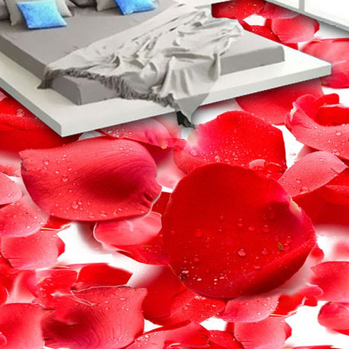 3D Red Flowers Photo Floor Wallpaper Stickers Anti Wear Living Room Bedroom Waterproof PVC Self Adhesive Vinyl Flooring Murals