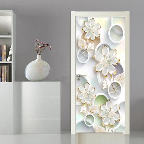 3D Wallpaper Modern Fashion Stereo Circle Flowers Photo Murals Living Room Bedroom Door Sticker PVC Wallpaper Papel De Parede 3D