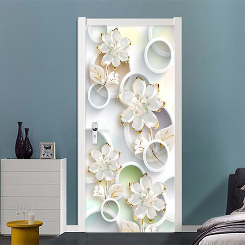 3D Wallpaper Modern Fashion Stereo Circle Flowers Photo Murals Living Room Bedroom Door Sticker PVC Wallpaper Papel De Parede 3D