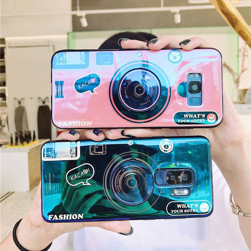 Retro 3D Camera Phone Cases For Samsung Galaxy Note 9 8 S8 S9 Plus Case Glossy Blu-ray Silicone Cover For iPhone X 8 7 6 6S Plus