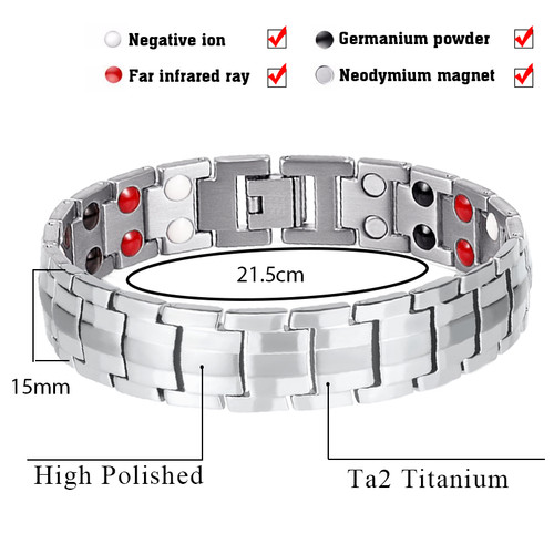 LITTLE FROG Fashion Jewelry Healing FIR Magnetic Titanium Steel Energy Bracelet For Men Blood Pressure Accessory Silver Bracelet