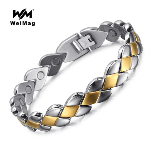 WelMag Top Quality Fashion Men Magnetic Bracelets & Bangles Stainless Steel Bio Energy Therapy Jewelry Blood Pressure Accessory