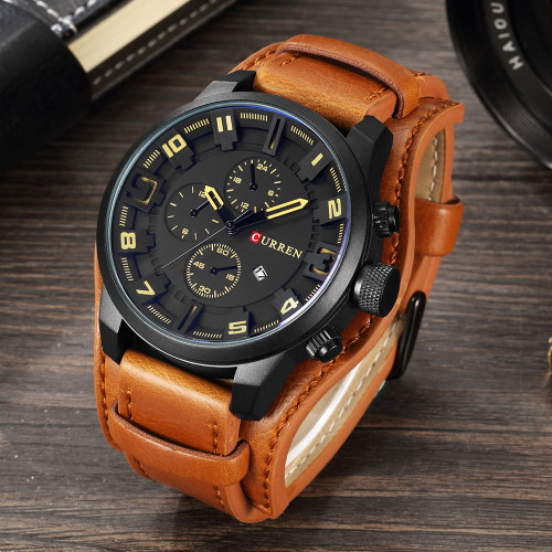 Curren 8225 Men's Casual Sport Quartz Watch Mens Watches Top Brand Luxury Quartz-Watch Leather Strap Military Watch Wrist Male
