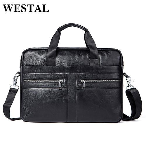 WESTAL Genuine Leather Men Bags Briefcases Men's Messenger Bag Cowhide Leather Laptop Crossbody Handbag Male Business Bag 2019