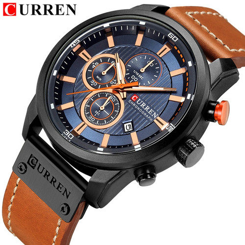 Relogio Masculino Curren 8291 Quartz Blue Vogue Business Sports Watches Luxury Brand Men's Army Military Watch Man Quartz Clock