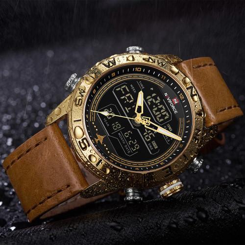 Luxury Brand Men NAVIFORCE Watch Led Digital Leather Sports Watches Man Quartz Clock Men's Army Military Watch Relogio Masculino